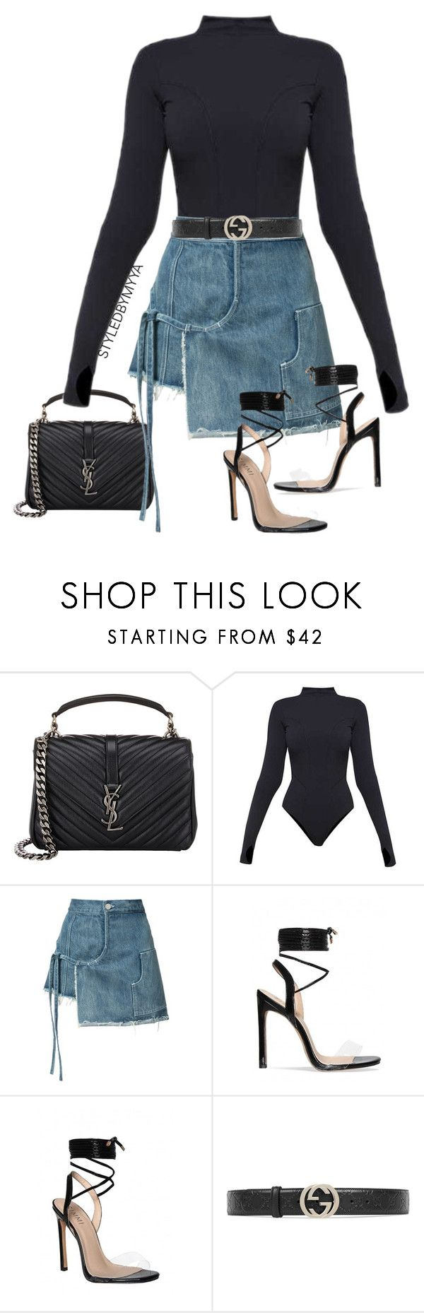 """""""NOBU"""" by my-ya ❤ liked on Polyvore featuring Yves Saint Laurent, Ivy Park, Sandy Liang and Gucci"""