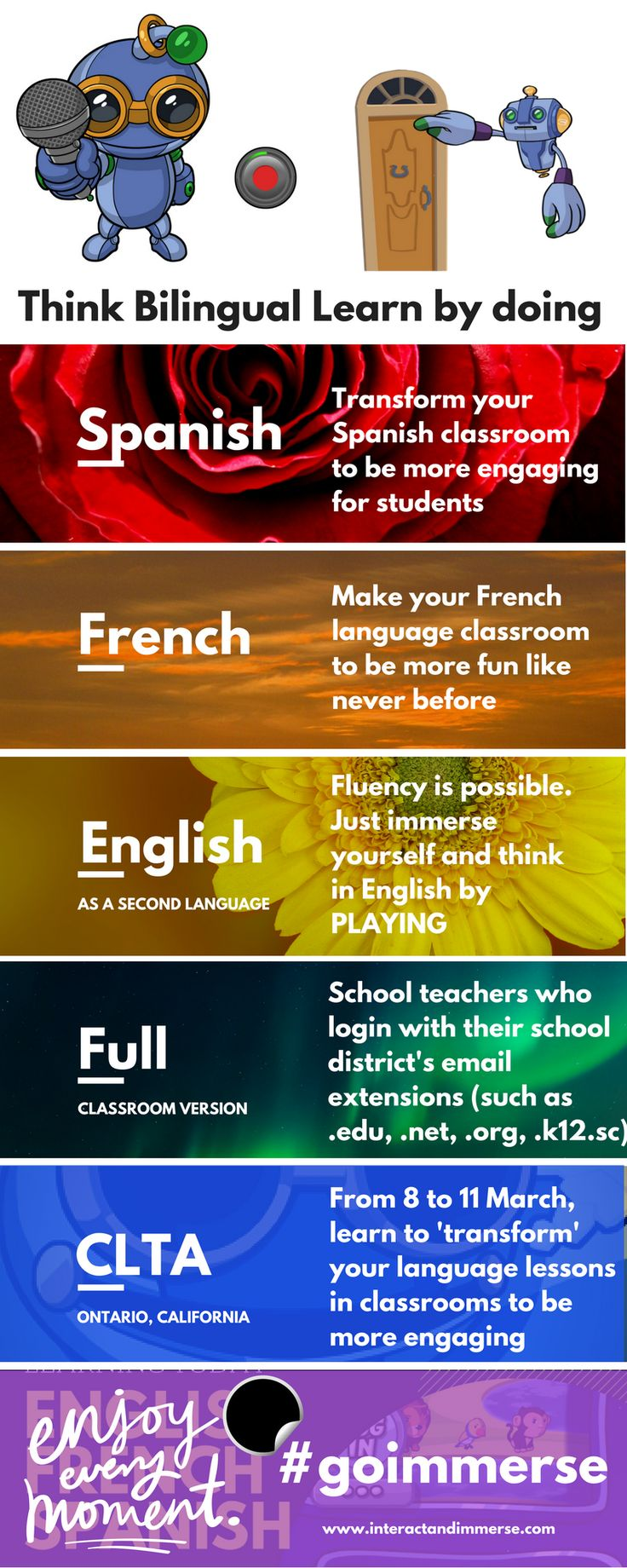 Are you ready to change the way your students learn languages? Immersion is the answer-- Think Bilingual is the method. #teacher #english #french #spanish #esl #duallanguage #clta2018 #edtech #language