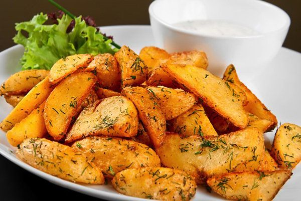 Boil first then finish On the Grill or in oven: Crisp Rosemary Fries with Low-Fat Aioli