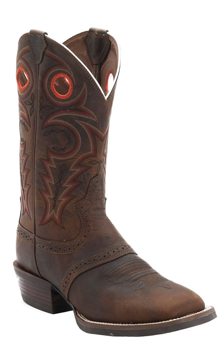 Justin® Men's Silver Collection Whiskey Buffalo Double Welt Saddle Vamp Square Toe Cowboy Boots