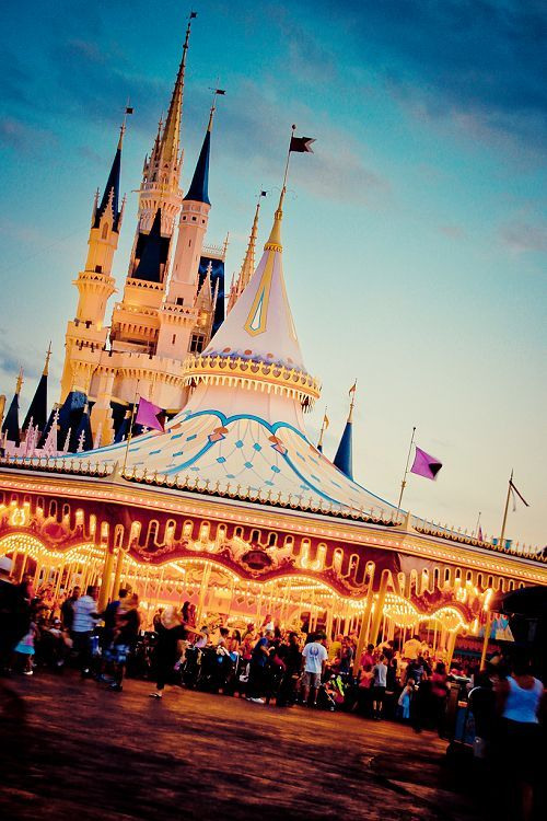 Cinderella Castle and Golden Carousel in Magic Kingdom, Walt Disney World