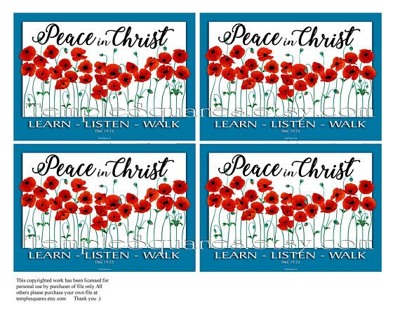 2018 Mutual Theme LDS YW Peace in Christ Peace in me D&C 19:23 Printable Posters Handouts Bookmarks Instant Download Digital Collage Poppies Posters, XXL Poster, Bookmarks, and Handouts for the New Young Women Youth Theme Purchase includes the following 300 dpi high res digital instant