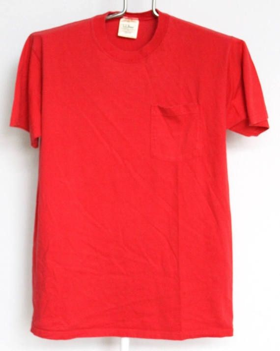 75666b394f5 Vintage LL Bean Red Pocket T Shirt Mens Medium Unisex Womens Solid Plain  Blank Cotton Made In USA Russell Athletic L.L. Bean | Products | Plain red t  shirt, ...