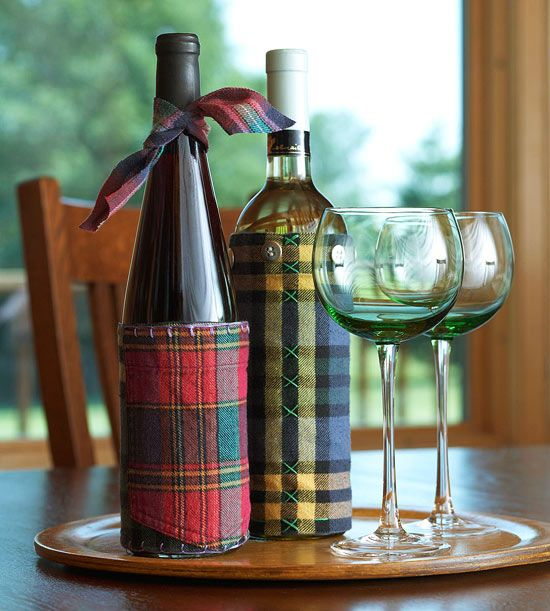 Flannel Wine Sleeve, DIY Handmade Gifts for the Holidays, Mohawk Homescapes