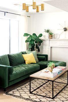 Green Velvet Right Sectional – Tufted   Article Sven Modern Furniture