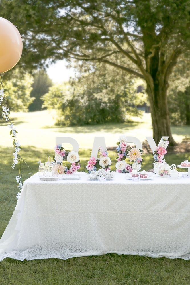 Pretty floral tea party baby shower! See more party planning ideas at CatchMyParty.com!