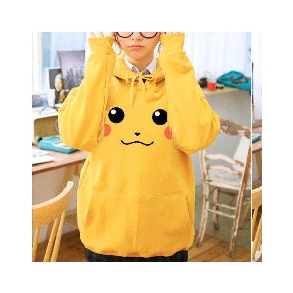 Japanese Kawaii Pikachu Long-Sleeve Sweater SD00796 ❤ liked on Polyvore featuring tops, long sleeve tops, yellow long sleeve top and yellow top