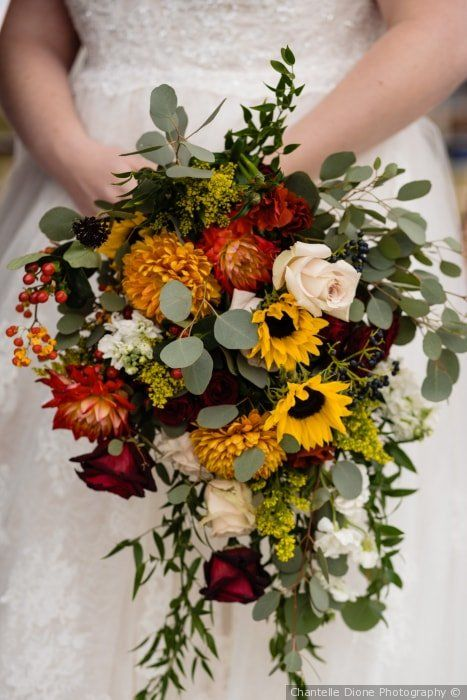 Stunning fall wedding bouquet – yellow,  white, red, orange with greenery {Chant…