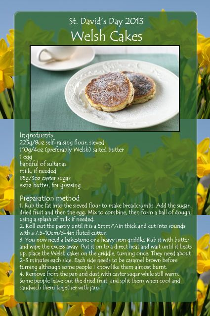 Welsh cakes for St. David's Day 1st March - http://bathknightblog.com/2013/03/01/happy-st-davids-day-2013/    St. David's Day  Welsh National Holiday