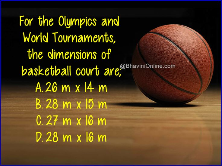 Sports GK Question: For World Tournaments, The Dimensions Of Basketball Court Are...? - BhaviniOnline.com