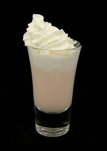 #hellopartypeople friday night - Cum Shot Recipe  1 part butterscotch schnapps  1 part Bailey's® Irish cream  1 1/2 oz whipped cream  Blend liquors in shot glass. Top with whipped cream. Serve.