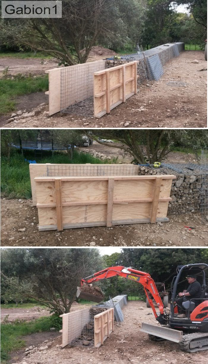 after shoring up the gabion basket with plywood shutters, the gabions can then be filled quickly by machine http://www.gabion1.com