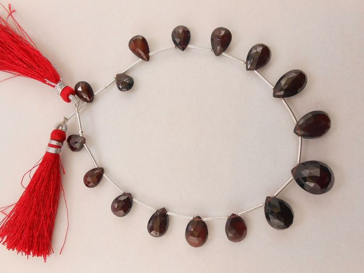 85 Cts Genuine Garnet Pear Briolette Faceted Gemstone Deep Red Beads 16 PC. #GEMSTONETOPPER #Faceted