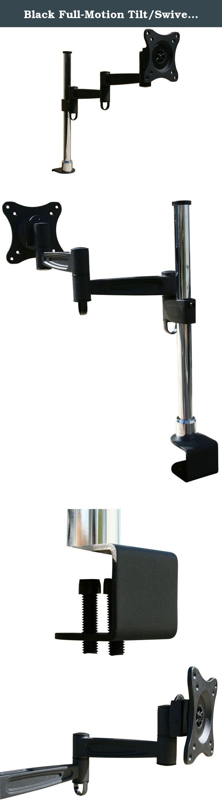 """Black Full-Motion Tilt/Swivel Desk/Monitor Mount Bracket for Samsung UN24H4500 24"""" inch LED HDTV TV/Television - Articulating/Tilting/Swiveling. Compatible with the Samsung UN24H4500 24"""" inch LED HDTV TV/Television, this adjustable full-motion tilt/swivel black desk/monitor mount bracket features a hinged arm for added range of motion. It's height adjustable feature provides many options for viewing preferences. This Full-Motion Desk Mount supports most* 10"""" to 27"""" LED/LCD/Plasma..."""