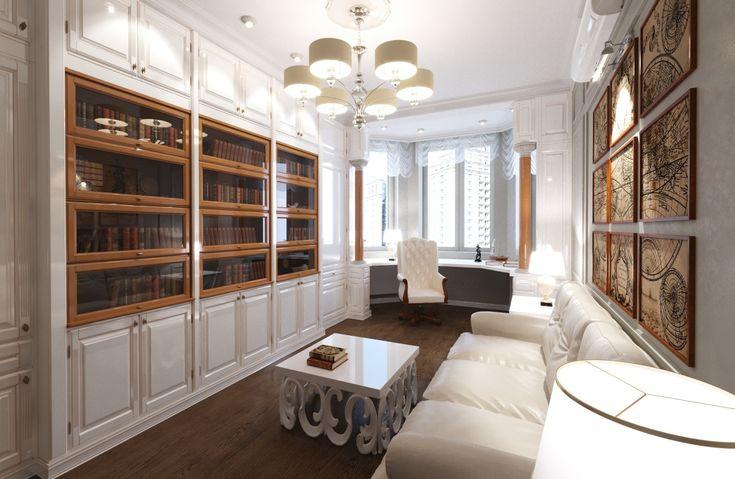 Кабинет представляет собой истинно классический интерьер небольшой библиотеки с рабочим местом и местом для отдыха. В декоре дизайнер здесь использовал колонны, что очевидно добавляет помпезности образу этой комнаты.