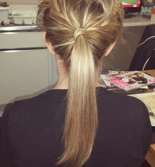 Back view of two french plaits going into a straight ponytail