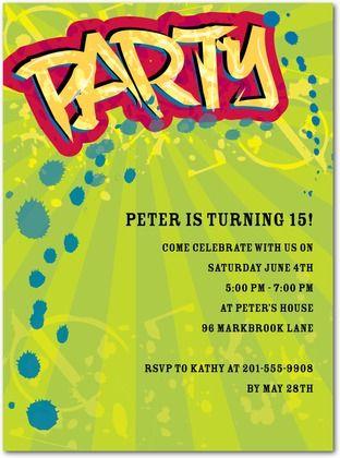 Teen Boy Birthday Invite for Tiny Prints #teen #invitation #birthday #graffiti