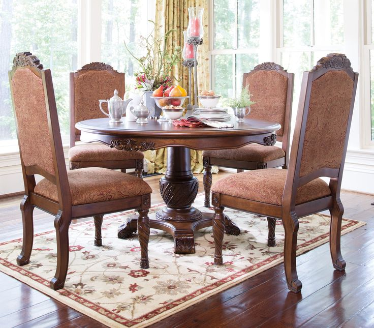 North Shore Traditional Dark Brown Wood Round Pedestal Table
