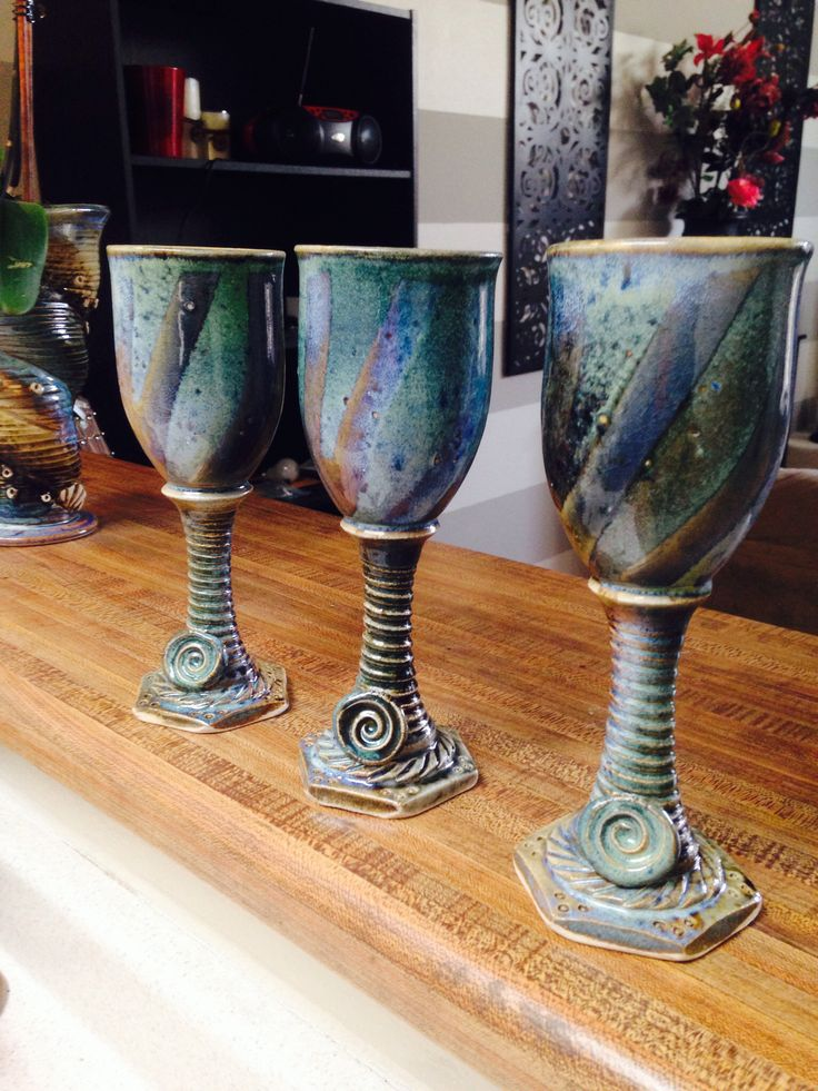 Ceramic Wine Goblets  Hand Made by Christopher James Cournoyer