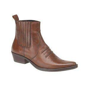 Herren Gringos Gusset Western Cowboy Knöchel-Stiefel in braun Antikleder in Größe 43