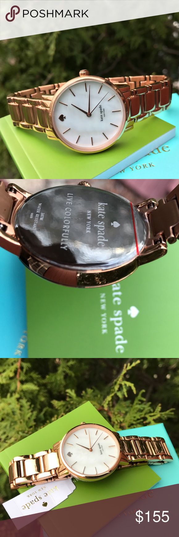 New Kate Spade Gramercy rose gold watch 1YRU0003 LAST 1! * Authentic 1YRU0003 * Model: Gramercy  * Retail: $225 * Rose gold stainless steel  * New with Kate Spade watch box and owners booklet included  * 34mm Mother-Of-Pearl dial  * 3 ATM  * UPC: 098686250697 * WHAT A BEAUTY!  No trades. Buy now or offer only / Same business day shipping kate spade Accessories Watches