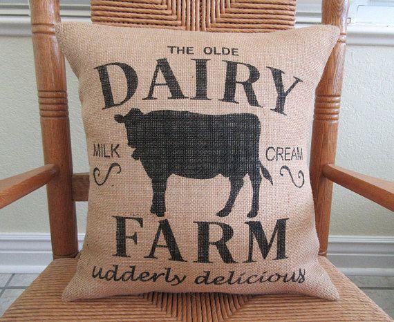 Farm pillow, Cow pillow, Burlap pillow, Farmhouse pillow, stenciled pillow,  country pillow,  FREE SHIPPING!