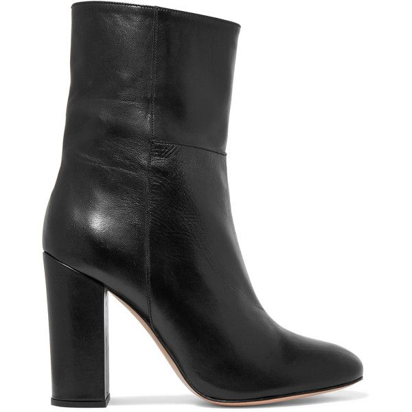 Iris and Ink - Leather Ankle Boots ($245) ❤ liked on Polyvore featuring shoes, boots, ankle booties, black, summer booties, short black boots, ankle boots, black leather bootie and black bootie boots