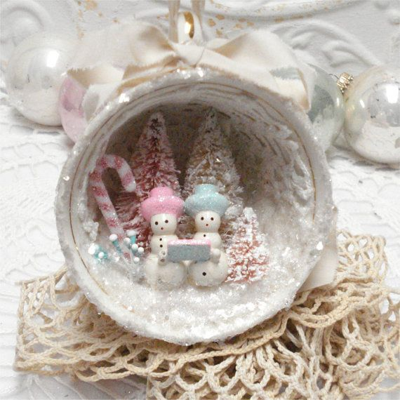 Shabby Chic Ornament Snowman Carolers OOAK    I made painted the snow carolers pastel and glittered them. I added small bottlebrush trees I