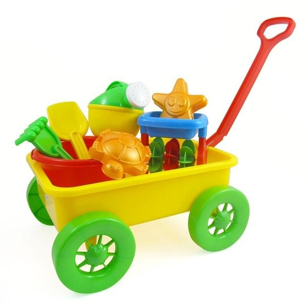 Beach Wagon Toy Set for Kids with Sand Wheel, Bucket, Shovel, Rake,... ($21) ❤ liked on Polyvore featuring toys and baby