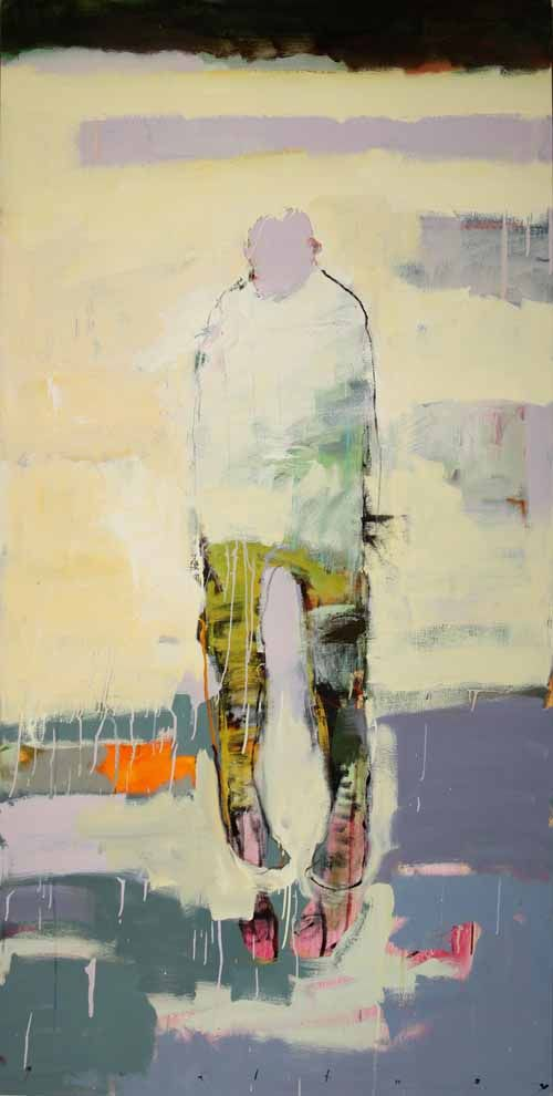 Chris Gwaltney at Seager Gray Gallery showing New York Sidewalk Puddles from London an abstract painting with strong_ daring use of color.