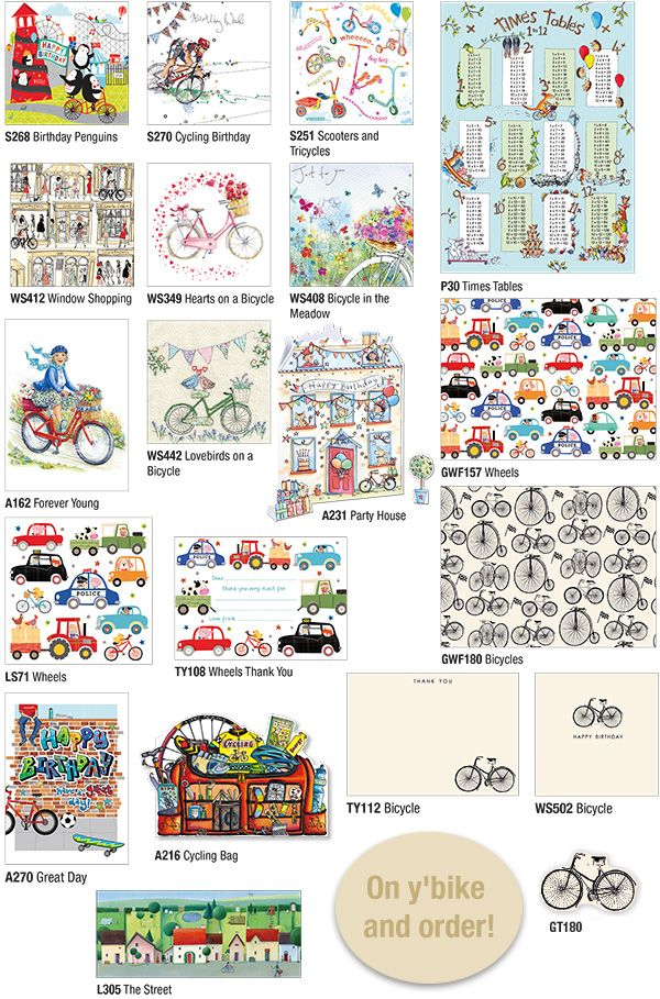All our products which feature bikes! www.gailscards.com.au