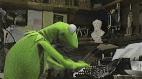 Funny .GIFs ~ Kermit the frog typing wildly on the Muppet Show