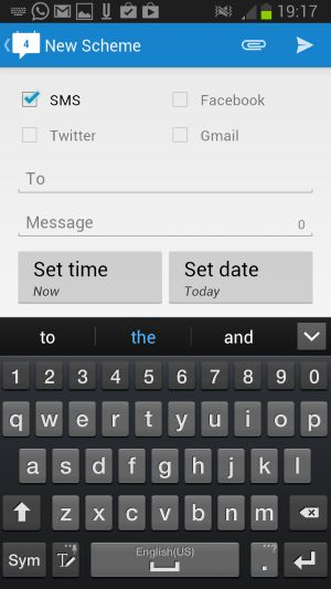 Schedule SMS and posts on Facebook, Twitter or Google Mails with Schemes for Android - Schemes is a free application for Google Android versions 2.3 and up that enables you to schedule SMS or posts to Facebook or Twitter, or emails via Google Mail.  What this means is that you can write the messages at any time and configure them to be published when the time is right for that. | gHacks