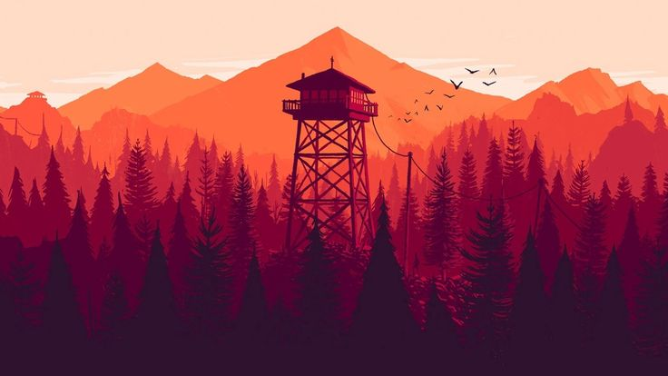 CONCEPT 2 - For art style on this concept, I'd love to see an illustrated style similar to this Firewatch artwork: limited color palette, clean type, relatively detailed in shading, but otherwise simple. I even like the warmer orange/red colors of both of these images.