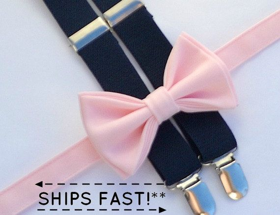 Pale Pink Bow Tie & Navy Suspenders Boy Suspenders by armoniia