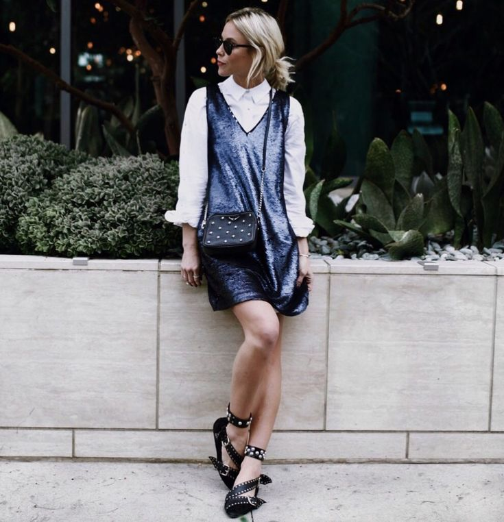 LALA | Happily Grey. White button-down shirt+black sleeveless sequinned dress+black ankle strap studded flats+black studded crossbody bag+sunglasses. Spring Semiformal Dinner Outfit 2017