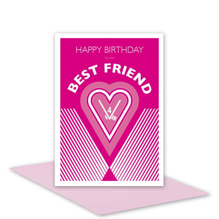 Best Friend Happy Birthday card for girl woman female friend for ever / personalised inside message option / heart & typography hot pink - pinned by pin4etsy.com