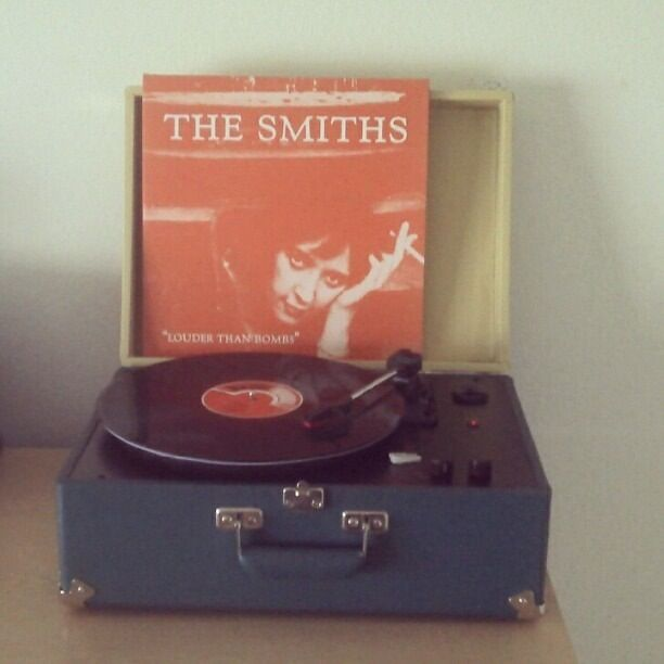 "The Smiths. 'Louder Than Bombs"" Vinyl LP On Vintage Record Player."
