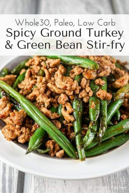 Spicy Ground Turkey and Green Bean Stir-fry is a Paleo and low carb dish that is packed with flavor and comes together in 15 minutes. | Winter | Dinner | Turkey | Whole30 | Paleo | Low Carb | #healthyrecipes #slenderkitchen #turkeyrecipes #greenbeans
