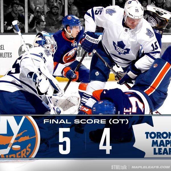 Leafs lose 5-4 in Overtime on Long Island to Islanders