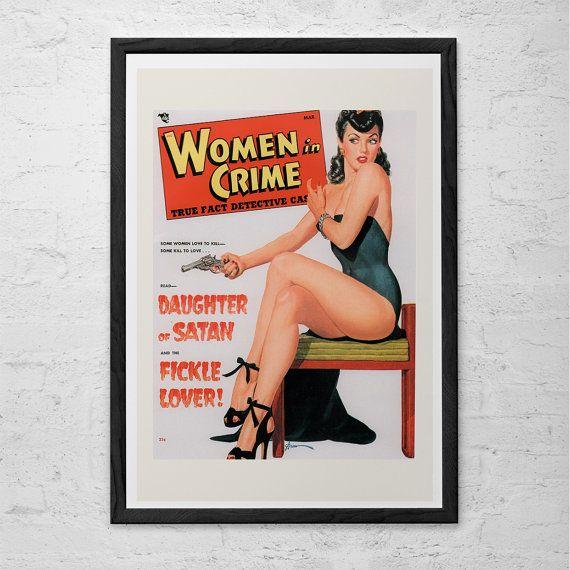 VINTAGE KITSCH POSTER - Women in Crime Detective Magazine Poster Print - Retro Kitsch Art Vintage Crime Pin-Up Cheesecake Americana Art