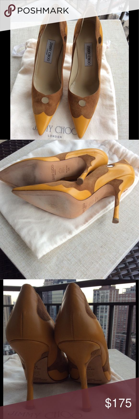 Beautiful Jimmy Choo 4 inches heel New, never worn. Suede and leather in different tones.With bag. Jimmy Choo Shoes Heels