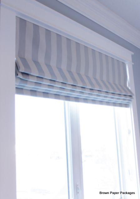 DIY Roman Blinds light blue / white see Javelin Stripe by The Stripes Company http://www.thestripescompany.com/shop/Interior-Striped-Fabrics-150cm/Javelin