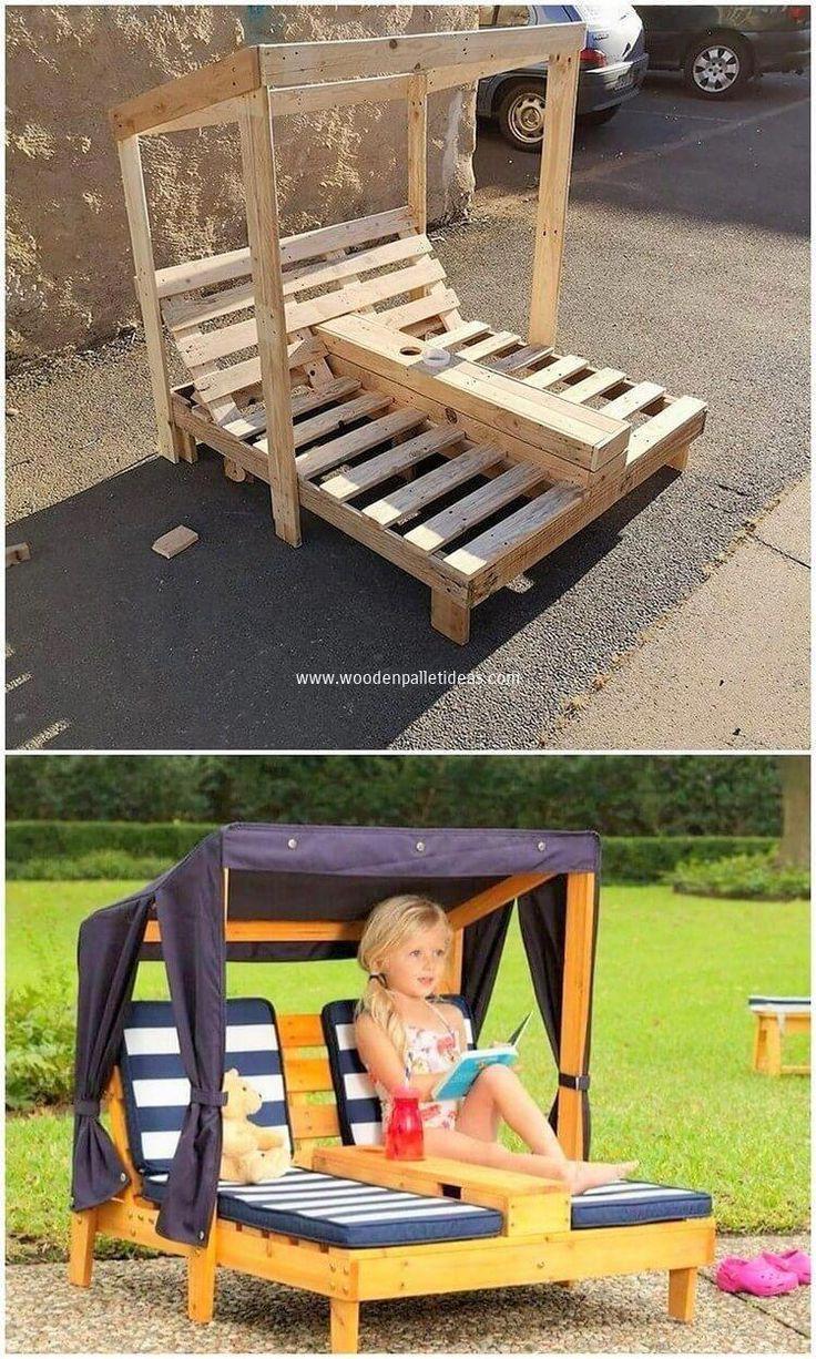 Platzierung der Gartenliege-Idee mit dem Holzpaletten-Effekt …