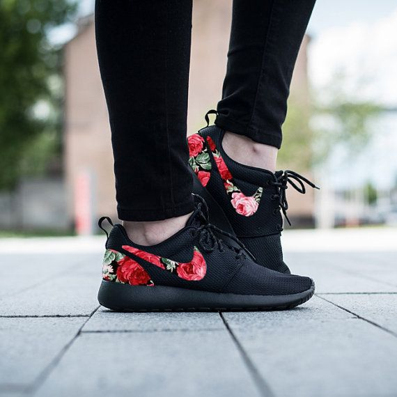 Nike Roshe Triple Black with Custom Red Pink Green Rose Floral Print
