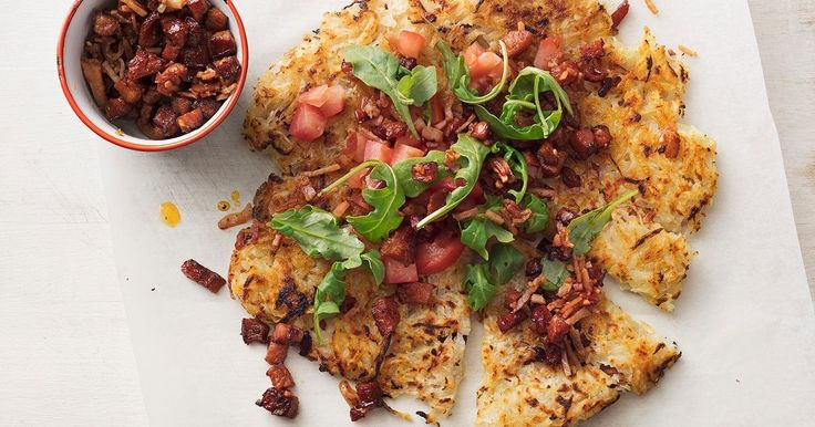 Brunch is sorted with this one-pan potato rosti. Sprinkled with crispy bacon and chorizo, it's guaranteed to be a family favourite.