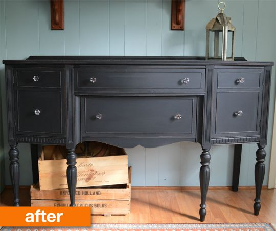 Before & After: A Vintage Sideboard Goes Matte & Midnight
