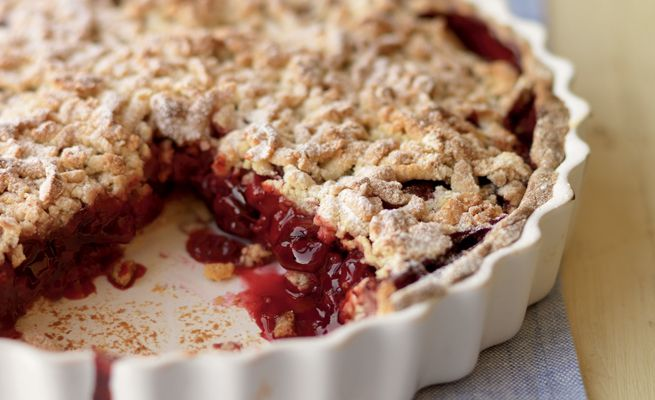 cherry crumble pie from the great british bake off heart