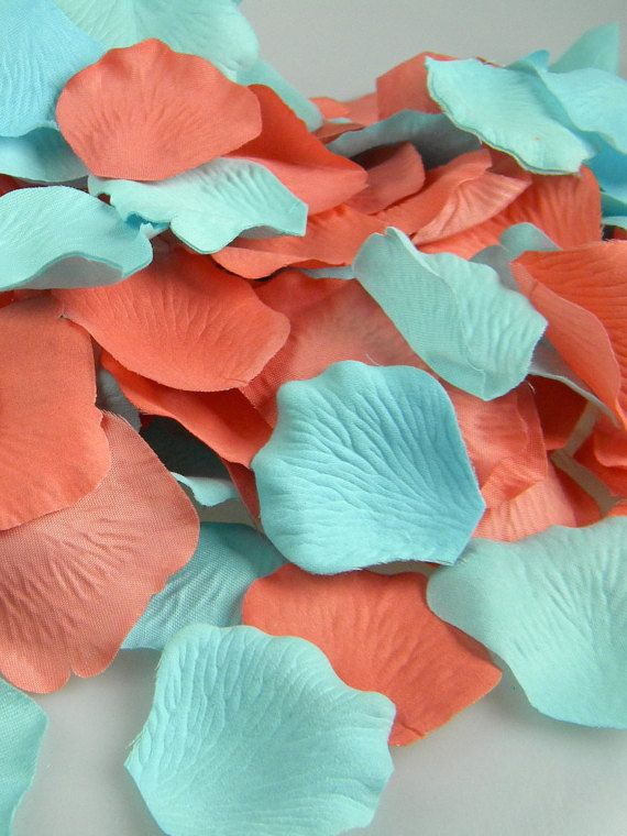 Coral and Ocean Breeze Aqua Rose Petals 200 by MorrellDecor