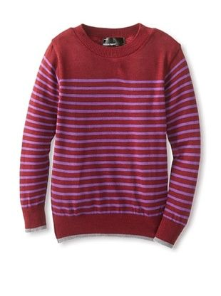 61% OFF American Apparel Kid's Crewneck Sweater (Burgundy Purple Stripe/Dark Heather Grey)